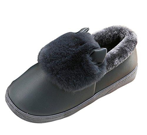 Chausson D'Intérieur Icegrey Noir Peau Fausse Mouton 3D Chaude Couple de Vache Bottes Fourrure Pantoufles Unisexe Pour 5gSg7