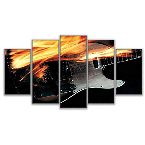 WSTDSM Wall Art Home Decoration Canvas Painting Poster 5 Panel Flame Guitars Modern HD Printed Pictures Print on Canvas (no frame/30x40x2 30x60x2 30x80cmx1)