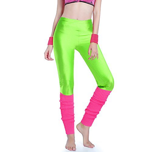 * NEW * Womens 80s Party Neon Capri Running Workout Leggings and Leg Warmers Set - many color combinations