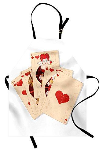 Ambesonne Alice in Wonderland Apron, Crown Gambler Queen Hearts Royal Fairy Flush Face Magic Theme, Unisex Kitchen Bib Apron with Adjustable Neck for Cooking Baking Gardening, Brown Red and Ecru]()