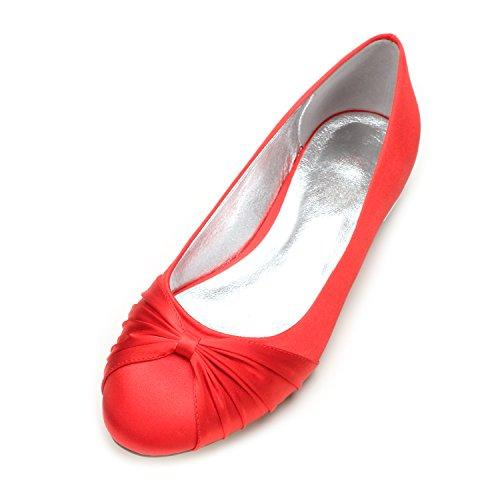 profonda Qingchunhuangtang moda party scarpe nozze raso Scarpe di Donna piano bocca calzature rotonda Il alla scarpe seta rosso di testa poco Grande BBxHwX