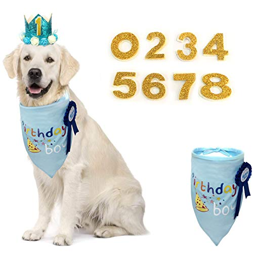 KEVIN-KW Dog Birthday Boy Bandana Scarfs-Crown Dog Birthday Hat with 0-9 Figures Charms Grooming Accessories Pack of 1 and Happy Birthday Award Badge (Blue, boy) ()