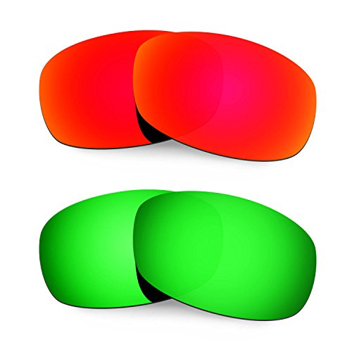 Hkuco Mens Replacement Lenses For Costa Brine Sunglasses Red/Emerald Green