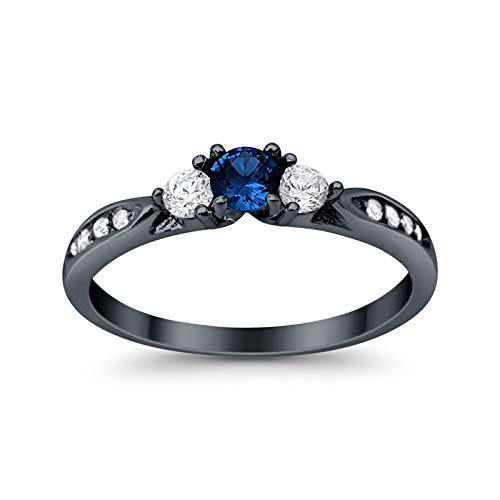 925 Sterling Silver Black Tone Rhodium Plated Ring, Round Simulated Blue Sapphire with Clear CZ Accent, Size-9