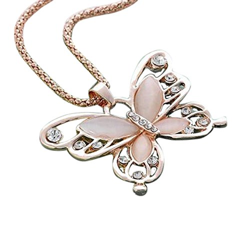 Flowers Jade Necklace - Fashion Womens Lady Rose Gold Opal Butterfly Pendant Necklace Sweater Chain Hot by TOPUNDER
