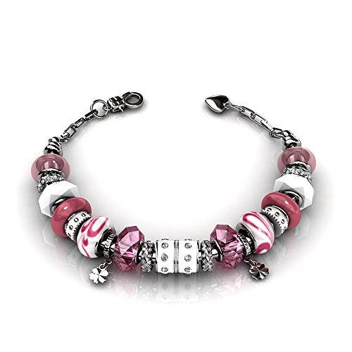 Cate & Chloe Aurora 18k White Gold Beaded Bracelet w/Swarovski Crystals, Beautiful Bangle Charm Bracelet, Sparkle Silver Beads Charm Bracelet for Women, Friendship Bracelets (Pink)