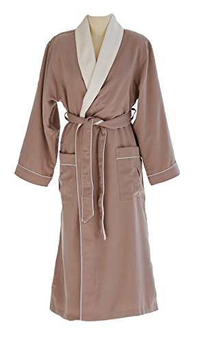 Ultimate Doeskin Microfiber Bathrobe Lined In Terry - Luxury Spa Bathrobe for Women and Men - Sedona/Eggshell - Medium