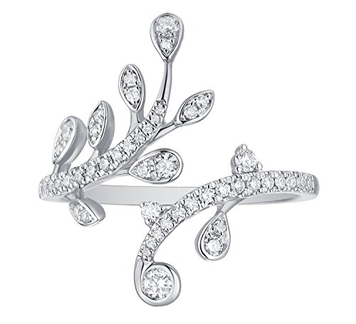 - Prism Jewel 0.35Ct G-H/I1 Natural Round Diamond Olive Leaf Bypass Ring, 10k White Gold, Size 9