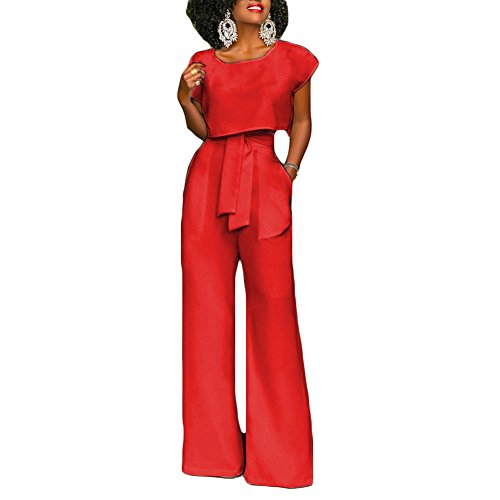 Women 2 Piece Outfits Short Sleeve Loose Crop Top and High Waist Wide Leg Palazzo Pants Set with Belt ()
