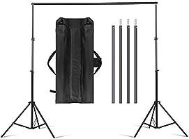 amzdeal Support de Fond 3m * 2m Réglable Ajustable pour Studio Photo, Hauteur 70-200cm, Largeur 75-300cm, Support en...
