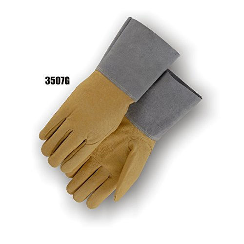 Majestic Glove 3507G/11 TIG Welder Gloves with Keystone Thumb and Pigskin Gauntlet, X-Large, Brown (Pack of 12)