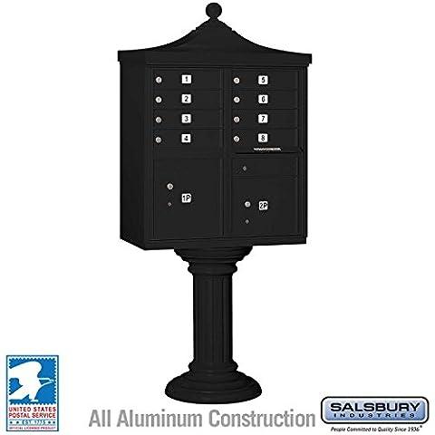 Salsbury Industries 3308R-BLK-U Regency Decorative CBU with CBU, Pedestal, CBU Top and Pedestal Cover, 8 A Size Doors, Type I, USPS Access, - Regency Cluster Box Unit