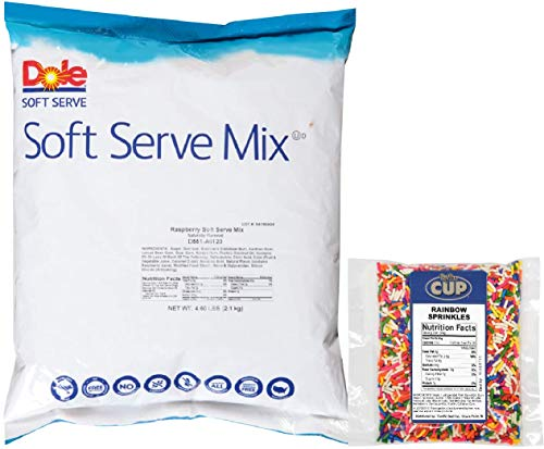 Dole Soft Serve Mix - Raspberry Dole Whip, Lactose-Free Soft Serve Ice Cream Mix, 4.60 Pound Bag - with By The Cup Rainbow Sprinkles