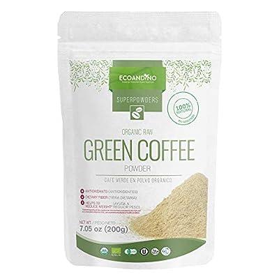 Ecoandino Organic Raw Green Coffee Powder 7.05 oz ( 200 grams ) Resealable Doypack bag