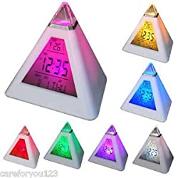 MAZIMARK--7 Colors Change Digital LCD Triangle Pyramid Time LED Alarm Clock Thermometer