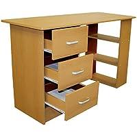 Redstone Schreibtisch - 3 Schubladen + 3 Regale - Schwarz Weiß Buche Nussbaum - Arbeitstisch Computertisch Bürotisch