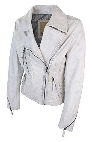 Slim Femme Cuir Style Veste Blanc Coupe Motard Cintrée Véritable Souple Biker zd775qXx