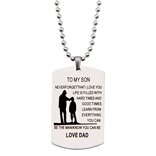 Personalized Father Son Pendant Birthday Metal Militar Father To Son Gift Customed Photo Dog Tag Necklace (NEVER FORGET) (Personalized Pendant Photo)