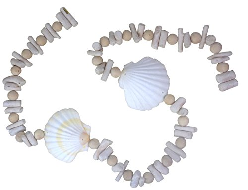 Wood 1 Bead Large - Driftwood, Wood Bead and Deep Scallop Shell Garland, 47 Inch 48-1-726