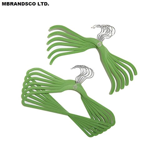 100 Pieces of Complete Closet and Storage Makeover Set with Huggable Hangers - Material Type : Chrome; Color : WILLOW GREEN