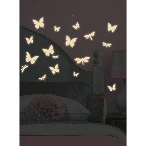 Lunarland BUTTERFLIES DRAGONFLY 80 BiG Wall Sticker White GLOW IN DARK Room Decor Decal RM