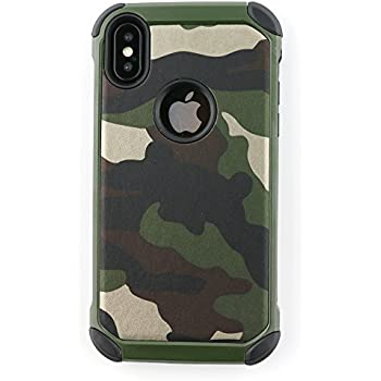 brand new 3e793 4550a iPhone XS Case, iPhone X Case Defender Shockproof Dual Layer Military Army  Camo Design Armor PC and Leather TPU Hybrid Rugged Camouflage Pattern Case  ...