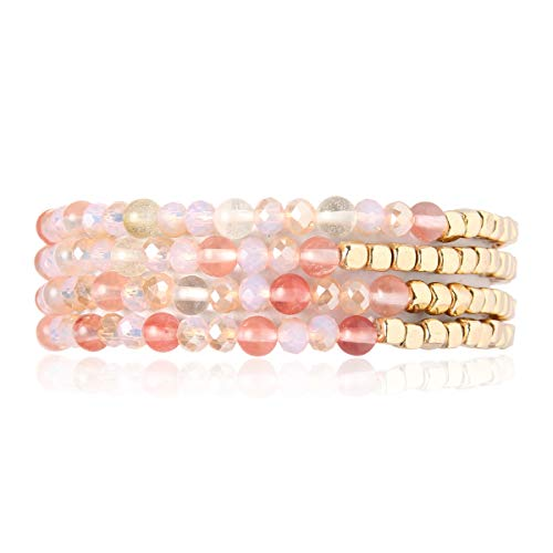 RIAH FASHION Bohemian Multi-Layer Sparkly Crystal Bead Charm Bracelet - Stretch Strand Stackable Bangle Set Tassel/Coin/Acrylic Druzy/Lava Diffuser Crescent (Delicate Natural Stone & Gold Mix - Pink)