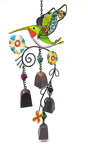 """Wind Chime Charm Hummingbird Colorful Metal Glass for Indoor Outdoor (21"""" x 9"""")"""