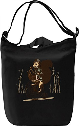 Squirrel on a bike Borsa Giornaliera Canvas Canvas Day Bag| 100% Premium Cotton Canvas| DTG Printing|