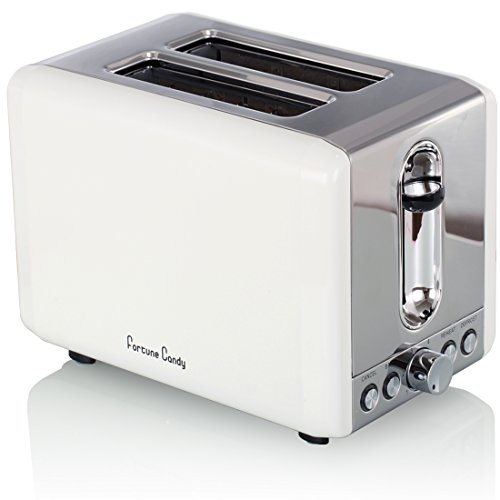 Fortune Candy Extra-Wide Slot 2-Slice Toaster Brushed Stainless Steel (Elegant White)