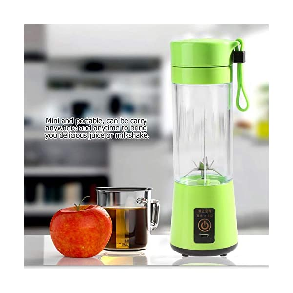 Zerone Portable Juicer, 350-400ML Frullatore estrattore di succo di frutta ricaricabile Plactic USB ricaricabile(verde) 2 spesavip