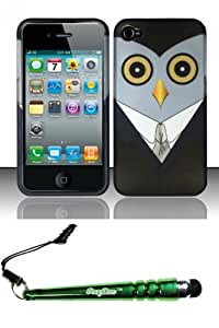 FoxyCase(TM) FREE stylus AND For iPhone 4 4s (AT&T Verizon Sprint) Rubberized Design Case Cover Protector - Mr. Owl Desire Safe Phone cas couverture