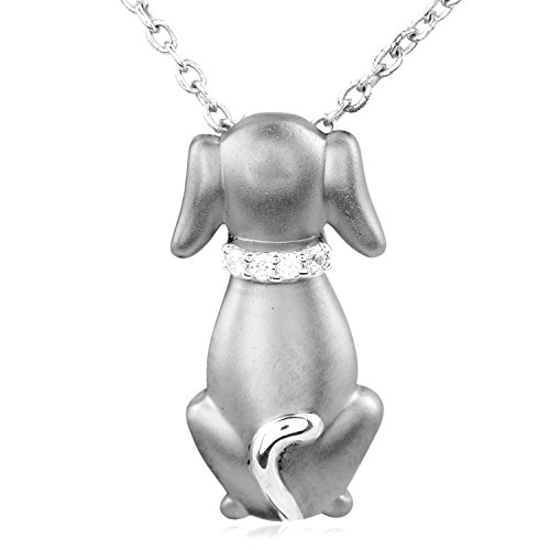 Tender Voices Diamond Accent Dog Pendant in Sterling Silver - A beautiful gift for your Loved one