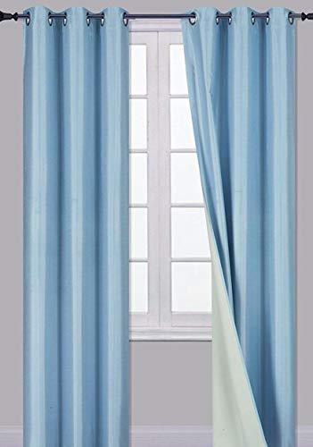 Sapphire Home (2 Panels Grommet Faux Silk Blackout Window Curtain Panels 84