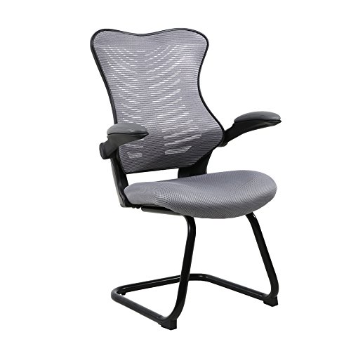 Office Factor Reception Guest Chairs with Flip Up Arms – Comfortable Mesh, Ergonomic Contour, Tilting Back, Flippable Armrests – Modern Convertible Furniture for Visitors, Meeting Groups (Gray) by OFFICE FACTOR