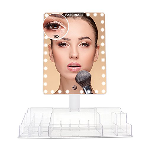 Fascinate Makeup Vanity Mirror with 32 LED Lights and 10X Magnification, Large Makeup Mirror with Acrylic Makeup Organizer, Touch Screen and Dual Power Supply, 360° Free Rotation Tabletop Mirror