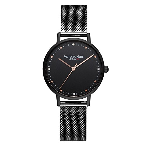 VICTORIA HYDE Womens Quartz Watches Stainless Steel Replaceable Mesh Band Black Rose Gold
