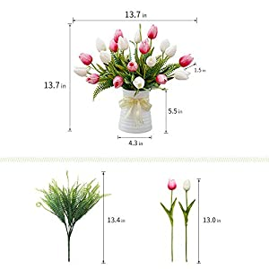 YILIYAJIA Artificial Tulips Flowers with Ceramics Vase Fake Tulip Bridal Bouquets Real Touch Flowers Arrangement for Home Table Wedding Office Decoration(White&Red) 2