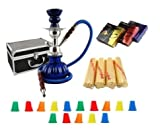 "Zebra Smoke Starter Series: 11"" 1 Hose Pumpkin Hookah WITH CARRYING CASE Combo Kit Set w/ Instant Charcoal (Like Three Kings Charcoal), Hydro Herbal Molasses(like Blue Mist), and Hookah Mouth Tips Smokes More Then Hookah Pen (BLUE)"