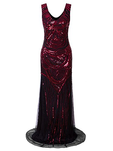 Vijiv Vintage 1920s Mermaid Prom Dresses V Neck Sequin Long Embellished Gatsby Wedding Dress Red XXL