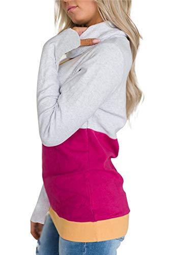 Eleganti Splicing Alto Tumblr Taglie Inverno Camicie Donna Manica e Sweatshirt Maglietta Maglia Cappuccio Maglione Felpa Lunga Pullover Forti Autunno Top Patchwork Camicetta Multicolore4 Senza Bluse Collo Tunica p5qBxUwcOR