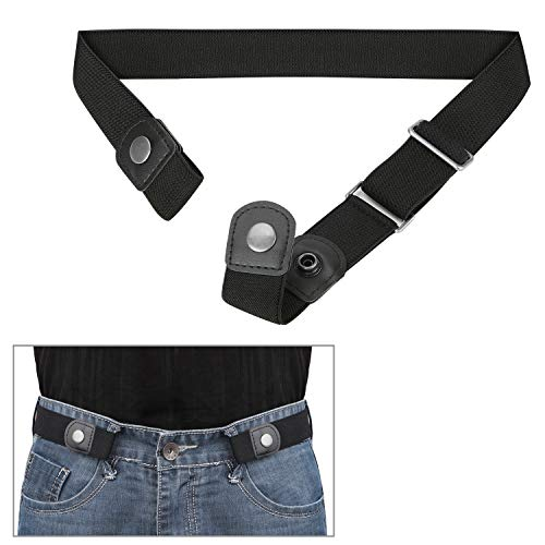 No Buckle Comfortable Elastic Stretch Belt for Men/Women Invisible, No Bulge, No Hassle Soft, Breathable, Adjustable (03 Black/Black Buckle, Fits waist size 24