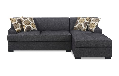 Bobkona Benford 2-Piece Chaise Loveseat Sectional Sofa Collection with Faux Linen, Ash Black (Mid Century Sectional Sofa)