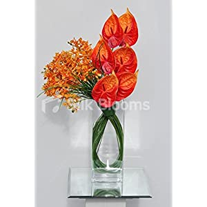 Artificial Fresh Touch Orange Dendrobium Orchid and Red Anthurium Floral Display 36