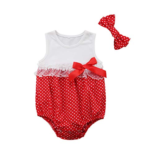 Cute Fashion Newborn Infant Kid Baby Girl Princess Lace Romper Cotton Round Neck Sleeveless Jumpsuit Headband 2Pcs Outfit Red 6M