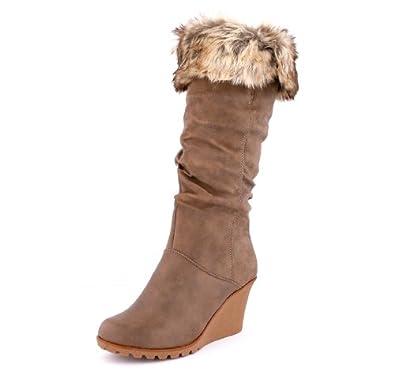 best boots Damen Boots Fell Stiefel Keilabsatz Stiefelette