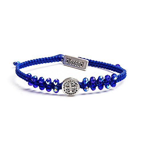 My Saint My Hero Stairway to Heaven Bracelet - Silver Tone with Blue Beads on Blue Cord (Bead Silver Blue Tone)