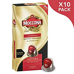 Moccona Coffee Lungo - Intensity 6 - 100 Aluminium Capsules Compatible with Nespresso Machines (10x10 Pods Pack)