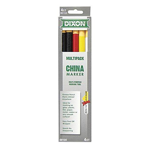 Dixon Phano China Marker, Black/Red/White/Yellow, Bonus Black -