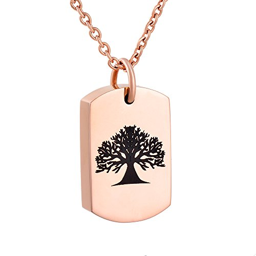 (constantlife Engravable Tree of Life Stainless Steel Ash Keepsake Urn Pendant Necklace Cremation Jewelry (Tree-Rose Golden))